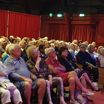 The very attentive Gladstone Theatre audience fascinated by Ken's remarkable stories.
